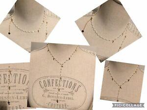 Collier Chapelet Réglable Acier Or Multi Croix Perles D'eau Douces  Ref Gigi