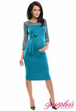 Purpless Maternity Ruched Bodycon Pregnancy Dress with with Polka Dot Lace D008
