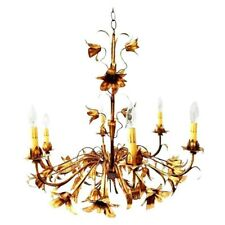 Gold Gilt Italian Tole Lily Six Light Chandelier c1950s Rare