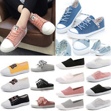 Women Cartoon Flats Canvas Shoes Sports Outdoor Lace Up Casual Board Sneakers