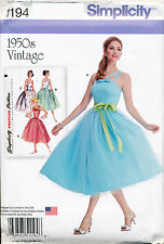 SIMPLICITY SEWING PATTERN 1194 MISSES 6-14 RETRO 50's ROCKABILLY DRESS W/ STRAPS