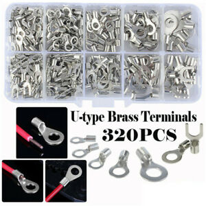 320Pcs Non-Insulated Brass Ring Fork U-Type Crimp Terminals Wire Connectors Set