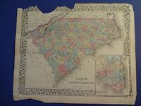 NICE, Hand-Colored Map of NORTH & SOUTH CAROLINA - S. Augustus Mitchell - 1878
