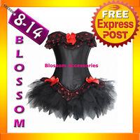 5063 Black Punk Lollita Gothic Corset & Tutu 8 10 12 14