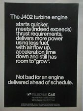 9/1975 PUB TELEDYNE CAE TURBINE ENGINES J402 TURBOJET ENGINE ORIGINAL AD