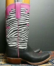 Women's Anderson Bean HP Black Leather Faux-Zebra Fancy Cowboy Boots Sz. 5B MINT