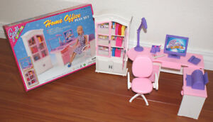 GLORIA FURNITURE DOLLHOUSE HOME OFFICE Shelf + Computer Book Shelf Playset