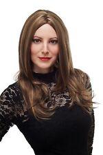 Perruque pour Femme Marron avec Mêches Blondes Long Lisse Raie au Milieu