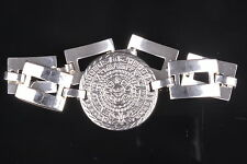 AZTEC LADIES STEEL  SILVER TONE BRACELET W/MEDALION & CHAIN LINK BAND