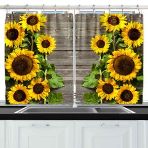 "Sunflower wood board Kitchen Curtains 2 Panel Set Decor Window Drapes 55 x 39"""