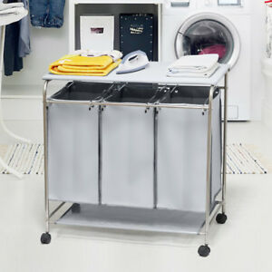 Laundry Hamper 3 Washing Basket Bag Sort + Ironing Board Trolley Clothes Grey