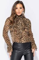 LEOPARD PUSSY BOW FRILL LONG SLEEVE BLOUSE