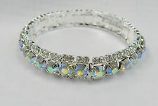 Wedding Prom Bracelet Silver Clear Iridescent Rhinestone Crystal Stretch Cuff