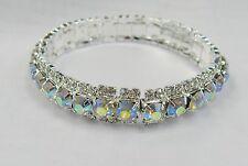 Wedding Prom Bracelet Silver Clear Iridescent Rhinestone Crystal Stretch Cuff