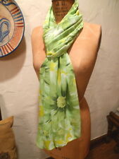 Women's Ladies Magic Scarf Shawl Green Yellow White Floral Accessory