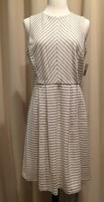 Sz 6 DANNY & NICOLE Sleeveless Striped Lined Fit-and-Flare Dress Career NWT $80