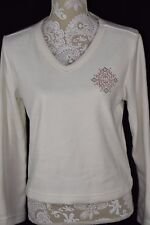 Victorias Secret Womens Small White Ivory V-Neck Fleece Long Sleeve Shirt Top
