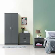 3 Piece Bedroom Furniture Set Wardrobe Chest Drawers Bedside Table Dark Grey