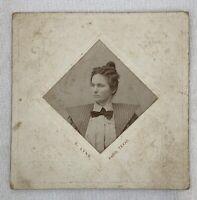 """Antique Cabinet Card Young Woman Paris Texas Square 4"""" x 4"""" 1800s Photograph e1"""