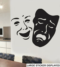 Theatre Mask Wall Vinyl Stickers West End Masquerade Arts Musical Music Decals 58cm X 46cm Black