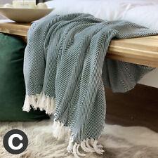 Luxury Large Dark Green White Eco Cotton Herringbone Soft Bed Sofa Blanket Throw