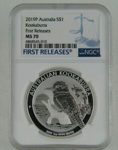 2019-P Uncirculated Australian Kookaburra 1 Oz Silver Coin Certified NGC MS 70