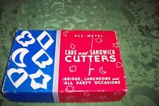 Vintage All Metal Cake and Sandwich Cookies Cutters 6 Pieces Club Spade Hearts