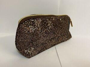 AVON BRONZE GLITTER COSMETIC BAG MAKE UP TOILETRIES TRAVEL HAND BAG ROSE GOLD NE