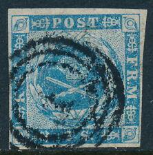 Denmark Scott 3/Afa 3, 2 sk blue imperf, F-Vf sound used 4 margin