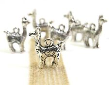 Set of 6 Llama or Alpaca Charms, Antique Silver, Tibetan Silver, US Seller