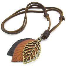 Jewelry Men's Ladies Necklace, Leaf, Adjustable Sizes Alloy Pendant Leather M3O2