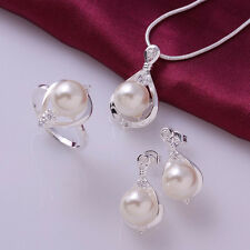 925 Sterling silver plated Crystal pearl necklace&earrings&ring sets LDSS733