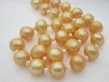 coco natural 12-13MM real south sea gold pearl necklace 18inch 14k gold gift