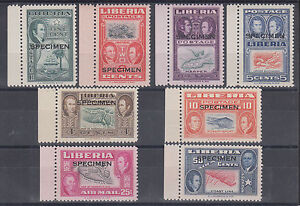 Liberia Von Saleski M494-MC501 MNH. 1952 Ashmun w/ SPECIMEN ovpts, Matched S/M