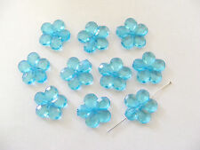 10 Acrylic Flower Beads - Turquoise - 20mm