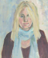 Ann Matthews - 20th Century Oil, Portrait Study of a Woman in a Blue Scarf