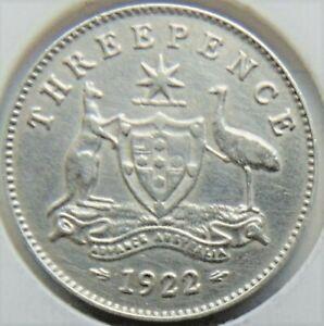 1922 AUSTRALIA, silver Threepence,  Ex a better grade collection grades aEF.