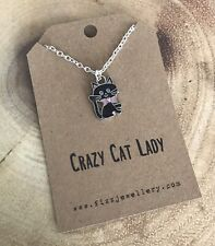 """Silver """"Crazy Cat Lady""""Black Pink Enamel Kitty Necklace Quote Gift Message Card"""
