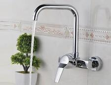 Wall Mount Brass Kitchen Sink Faucet Bathroom Chrome Polished Hot Cold Mixer Tap