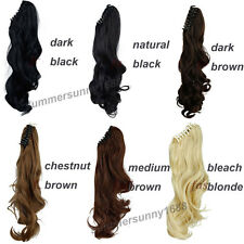 100% Natural Clip In Human Remy Hair Extensions Pony Tail Wrap On Ponytail sn91