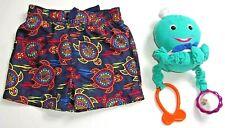 Infant Boys 9 Mo. Swim Trunks Dark Blue Multi Fish + Bonus Octopus Rattle
