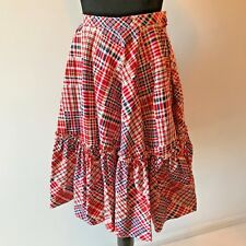 Vintage Red Blue White Plaid Check A-Line Ruffle Square Dance Skirt size XS S SK