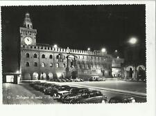133467 bella cartolina di bologna di notte con auto d' epoca palazzo accursio