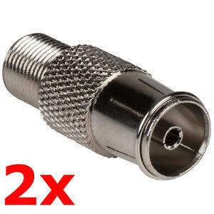 2 Pack - PAL Female to F Type Jack Adapter - Coax TV FM Radio Antenna Converter
