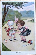 Baby's Exposed Butt/Bottom & Little Girl 1932 Artist-Signed Postcard
