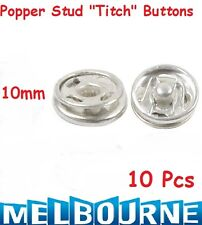 10x Snap Fasteners Sew On Poppers Studs Buttons Fastenings Silver Color 10mm