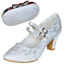 Para mujeres Zapatos de boda nupcial Bloque Talón & bolsa a juego, conjunto de Satén De Encaje Mary Jane