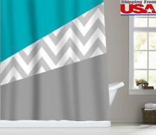 Zigzag Striped Chevron Waterproof  Bathroom Shower Curtain Set Green/Gray/White