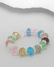 Mixed Colour Crystal Glass Stretch Bracelet