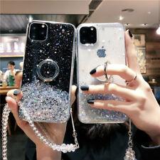 Sparkle Bling Anillo Soporte Soporte Funda de teléfono claro con Cadena de Cristal para Samsung